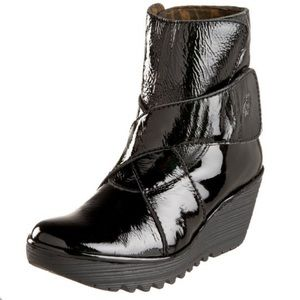 Fly London Yeddo Patent Leather Wedge Bootie